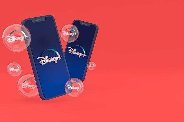 Дисней плюс значок на экране смартфона или мобильного телефона 3d визуализации