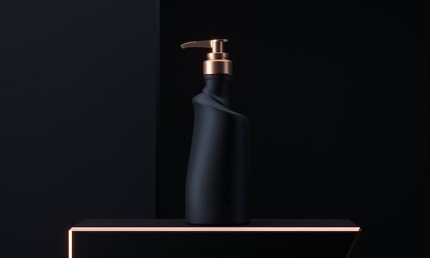 디스펜서 병. 답답한 펌프, 액체 젤, 비누, 로션, 크림, 샴푸, 목욕 거품 용기가있는 현실적인 병. 3d 렌더링