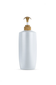 Dispenser head pump gold color, white body plastic bottle cosmetic hygiene shampoo, conditioner with body moisturising isolated