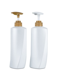 Dispenser head pump gold color, white body plastic bottle cosmetic hygiene shampoo