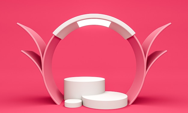 Display background for cosmetic product presentation, cylinder podiums in pink background