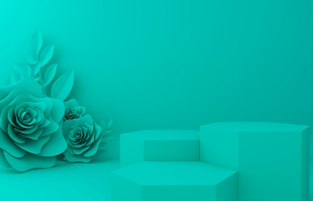 Display background for cosmetic product presentation. empty showcase,  3d flower paper illustration rendering.