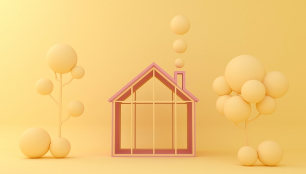 Display background houses and trees geometric shape. empty showcase,  3d illustration rendering.