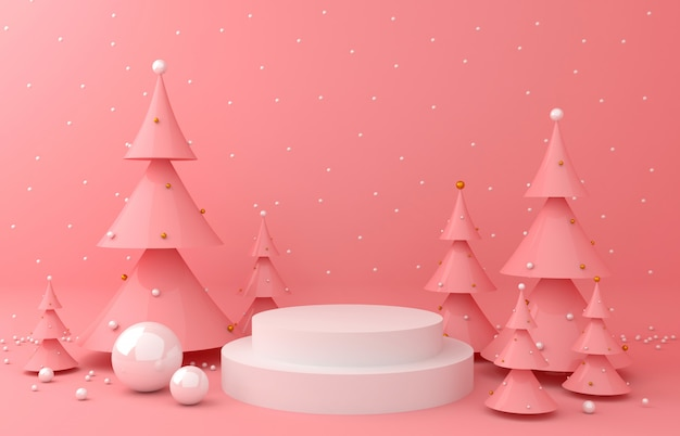 Display background and pink pine for product presentation
