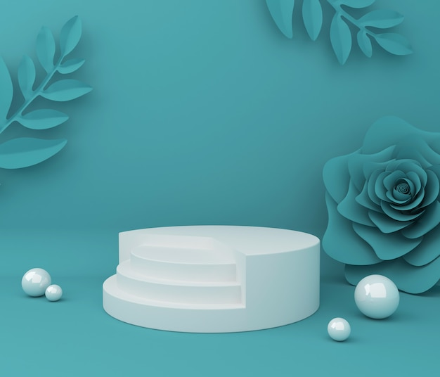 Display for cosmetic product presentation. empty showcase,  3d flower paper illustration rendering.