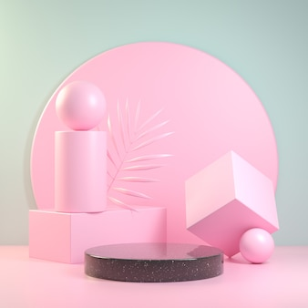 Display geometry composition basic shape pink. 3d render