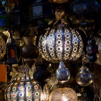 Display of lanterns for sale at market stall, medina, marrakesh, morocco