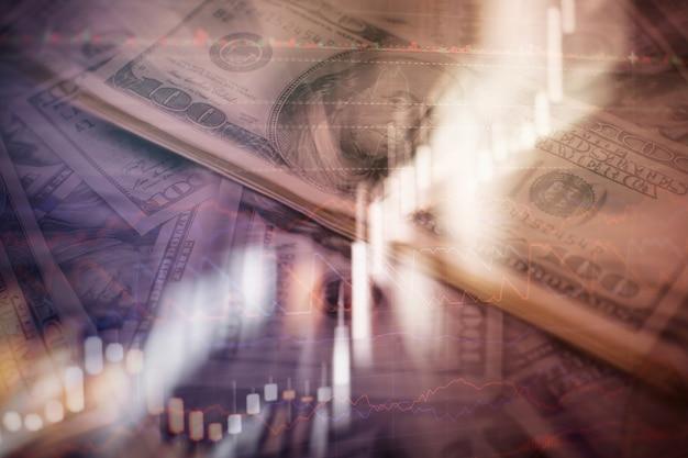 株式市場の相場の表示。ビジネスグラフ。強気弱気トレンド。ローソク足チャート上昇トレンド下降トレンド。ビジネスグラフの背景:情報シートの分析ビジネス会計。