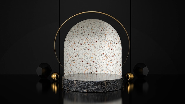 幾何学的形状の表彰台の壁製品に表示します。