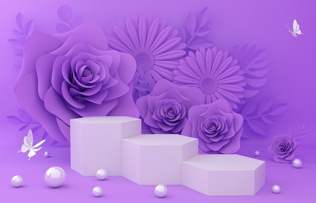 Display podium for product presentation. flower illustration 3d rendering