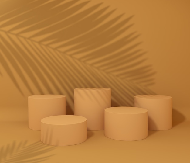 Display podium for product presentation, tropical tree shadow