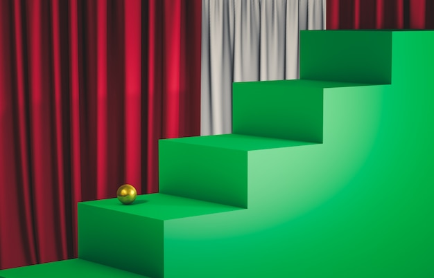 Display podium with empty cube box stairs. luxury scene. 3d render