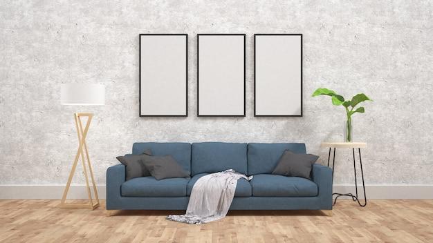콘크리트 벽 3d 렌더링에 포스터 이랑 표시