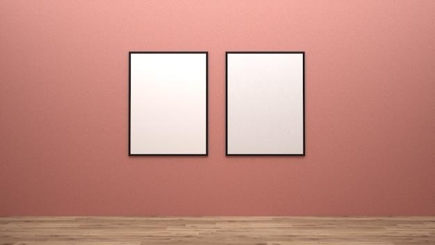 ウォール3次元レンダリングのポスターの模型を表示する