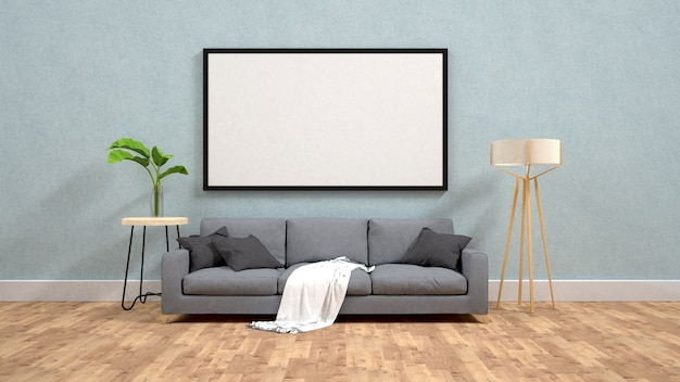Display poster mockup on  wall 3d rendering