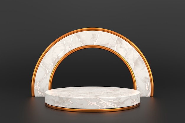 진열대 디자인. 3d 제품 전시. 3d 렌더링.