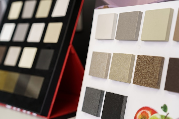 Display with decorative artificial stone samples for interior