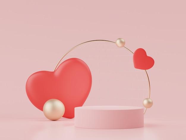 Отображает подиум с прекрасным сердечным фоном на день святого валентина