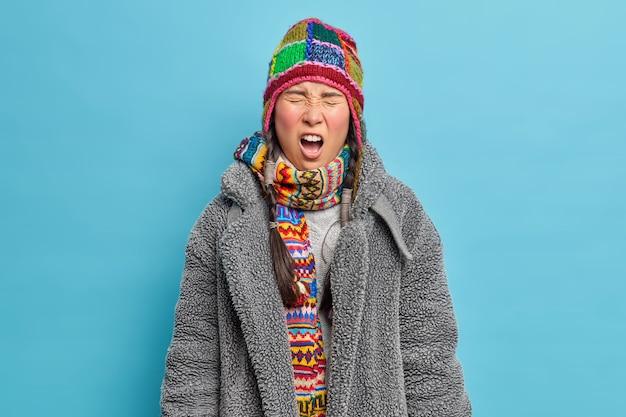 불쾌한 젊은 아시아 여성이 큰 소리로 입을 벌리고 따뜻한 겨울 옷을 입은 눈을 감고 파란색 스튜디오 벽 위에 절연 된 두 개의 땋은 머리가 있습니다.