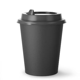 Одноразовая черная бумажная кофейная чашка для горячих напитков с черной крышкой на белом фоне. 3d визуализация.