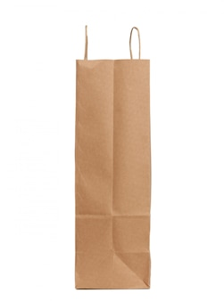 Disposable brown craft paper bag with handles