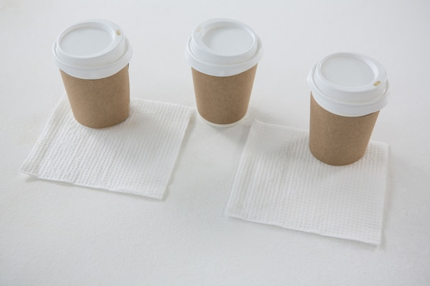 Disposable cups served with tissue papers
