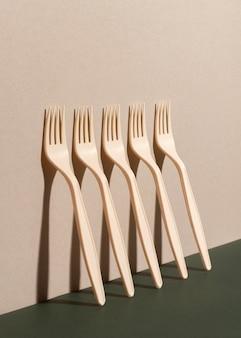 Disposable forks arrangement high angle