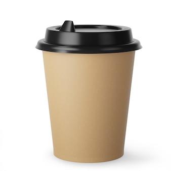Одноразовая кофейная чашка из крафт-бумаги для горячих напитков с черной крышкой на белом фоне. 3d визуализация.
