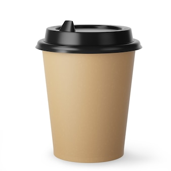 Disposable kraft paper coffee cup for hot drinks with black lid on white background. 3d render.