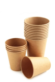 Disposable paper cups isolated on white background with copy space. coffee concept.