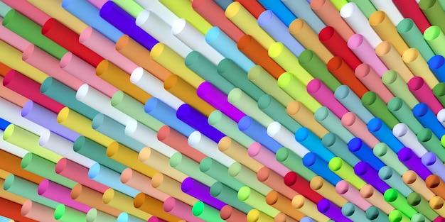 Одноразовые пластиковые красочные соломинки для питья 3d иллюстрация
