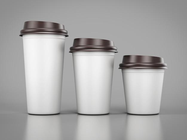 일렬로 서있는 다양한 크기의 일회용 플라스틱 컵. 3d 렌더링.