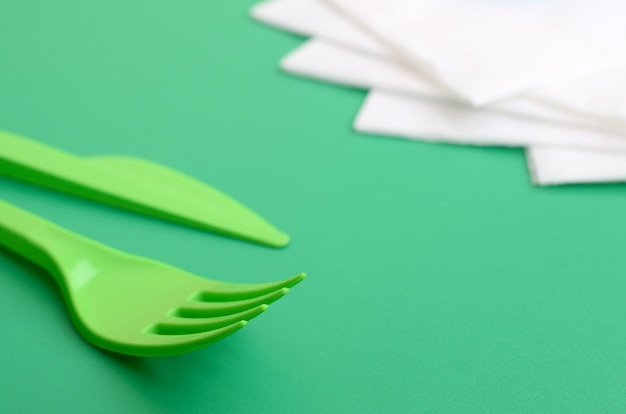 Disposable plastic cutlery green