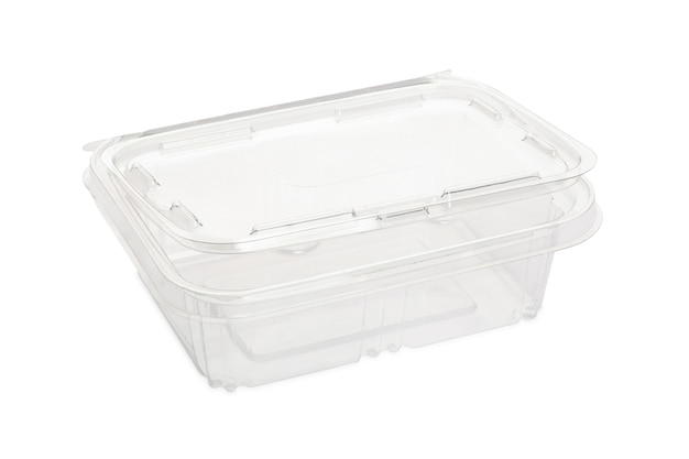 Disposable plastic transparent lunch box isolated.