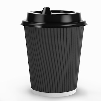 Одноразовая кофейная чашка для горячих напитков из белой бумаги с черной крышкой и комбинированным рукавом из крафт-бумаги. 3d визуализация.