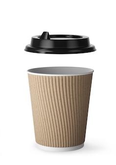 Одноразовая кофейная чашка для горячих напитков из белой бумаги с черной крышкой и комбинированным рукавом из крафт-бумаги. крышка пластиковая черная отдельно. 3d визуализация.