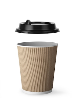 Disposable white paper hot drink coffee cup with black lid and kraft paper combo sleeve. black plastic cover separately. 3d render.