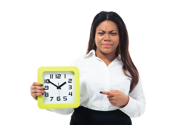 Dissatisfied businesswoman pointing finger on the clock