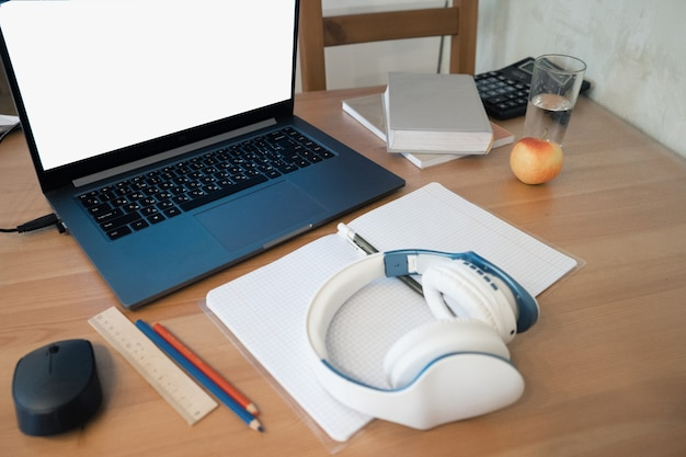 Distance learning  classes at home online on a computer