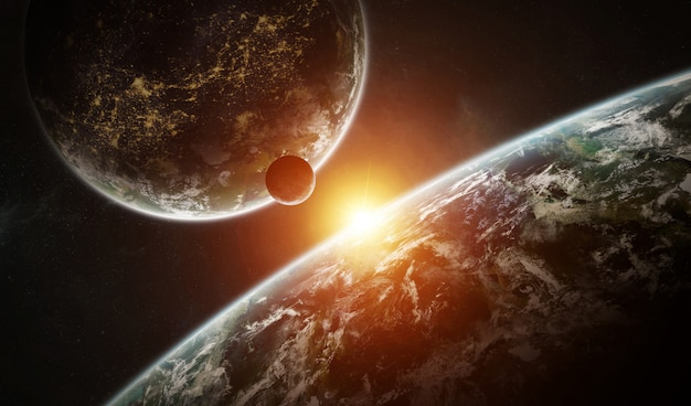 Distant planet system in space with exoplanets 3d rendering