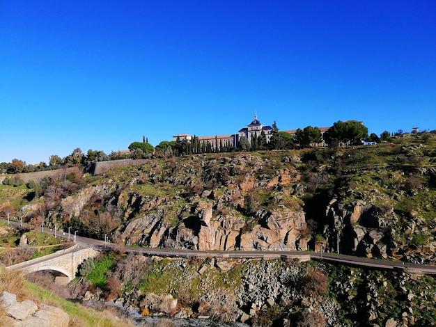 Distant shot of alcázar de toledo in toledo, spain