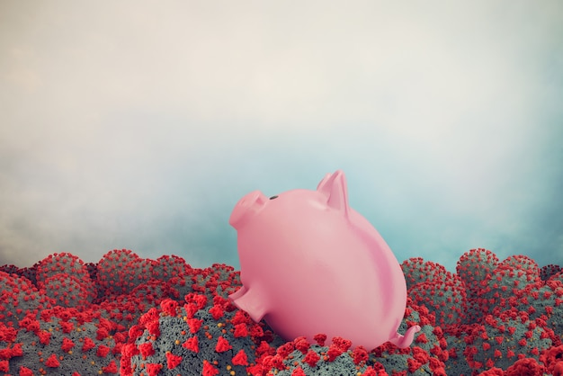 Distressed piggy bank is drowning in a sea of covid-19 viruses. concept of global crisis generated by the coronavirus.