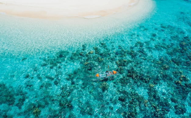 Ditaytayan island in the philippines, coron province. aerial shot from drone about vacation,travel and tropical places