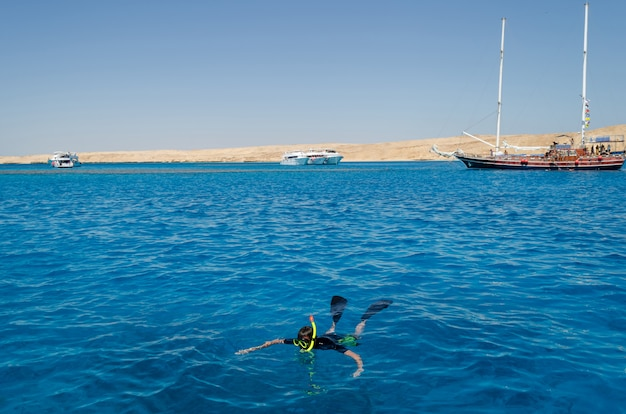 A diver floats in the sea near yachts