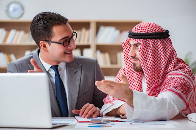 Diverse business concept with arab businessman
