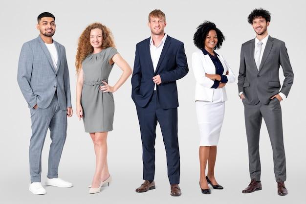 Diversi uomini d'affari ritratto completo del corpo per lavori e campagna di carriera