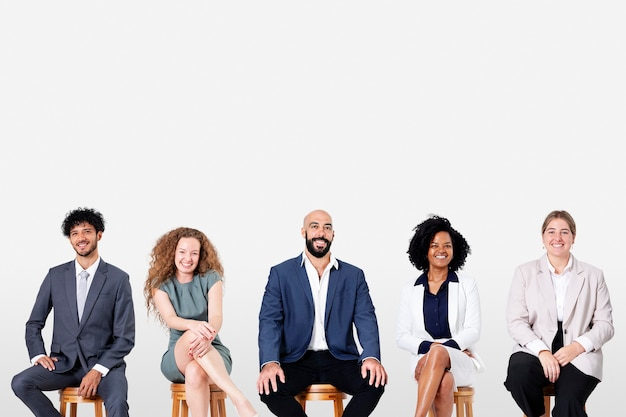 Diverse business people smiling while sitting jobs and career campaign