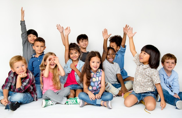 Diverse children shoot