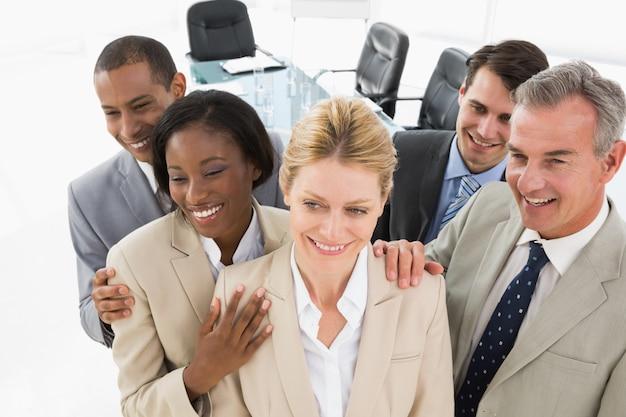 Diverse close business team smiling