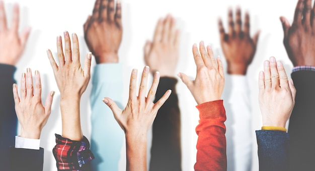 Diverse group of hands
